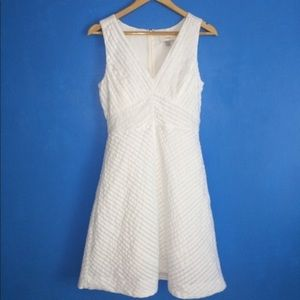 J CREW white pleat ruffle summer cotton dress